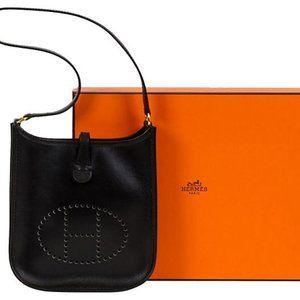 RARE Hermès Black mini Evelyne shoulder bag